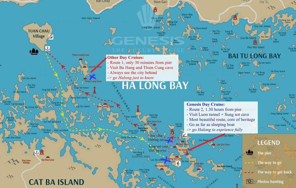 Halong bay cruise routes